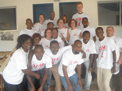 Parte da equipe no dia Mundial de luta contra a Aids